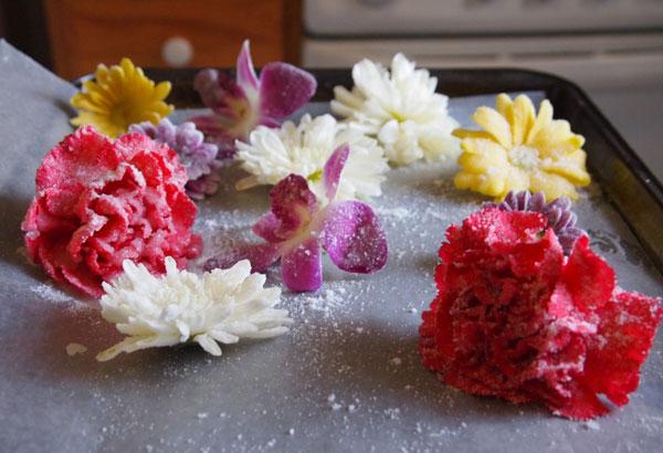 flores comestíveis cristalizadas